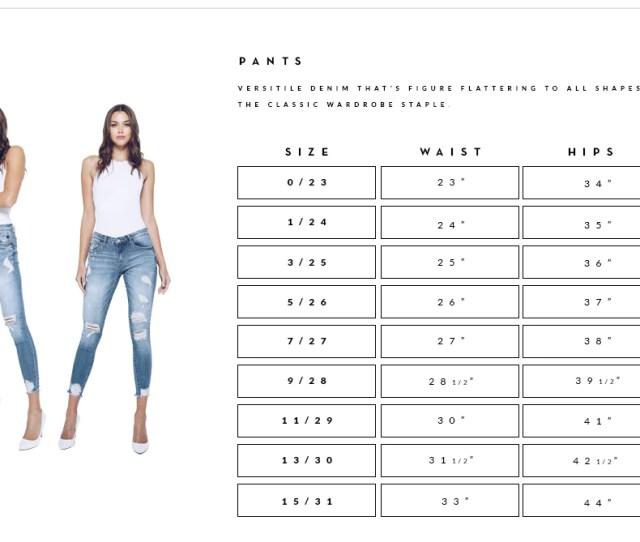 Size Chart Pants Plus Size Jeans Shorts Womens Clothes