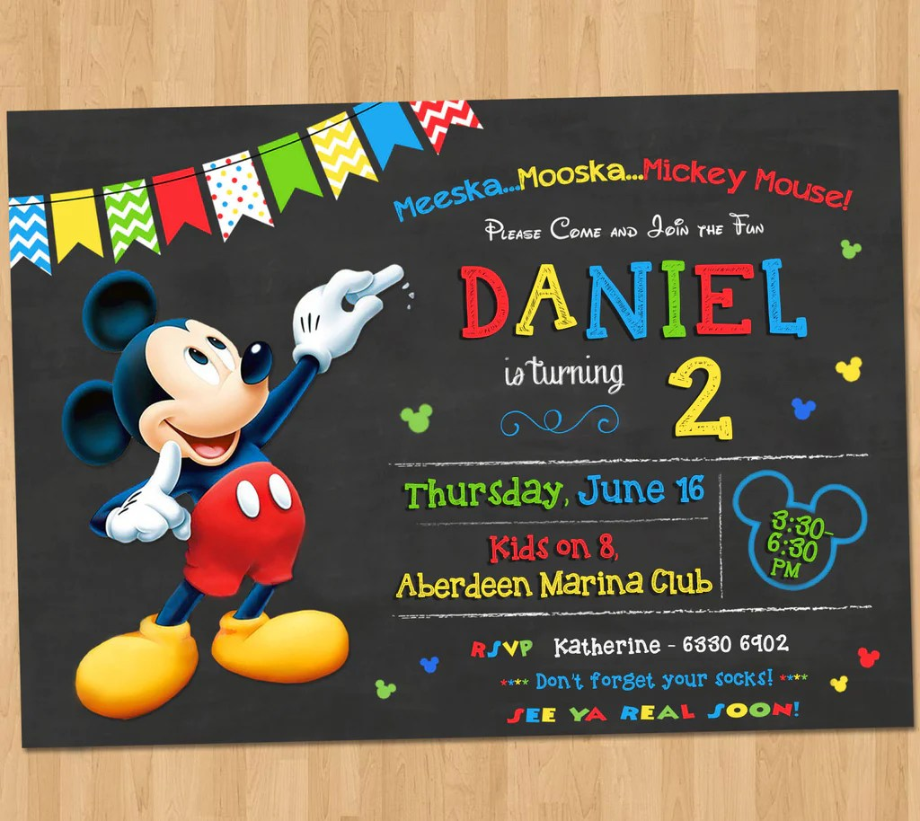 Mickey Mouse Birthday Invitation Pop Pixel Prints