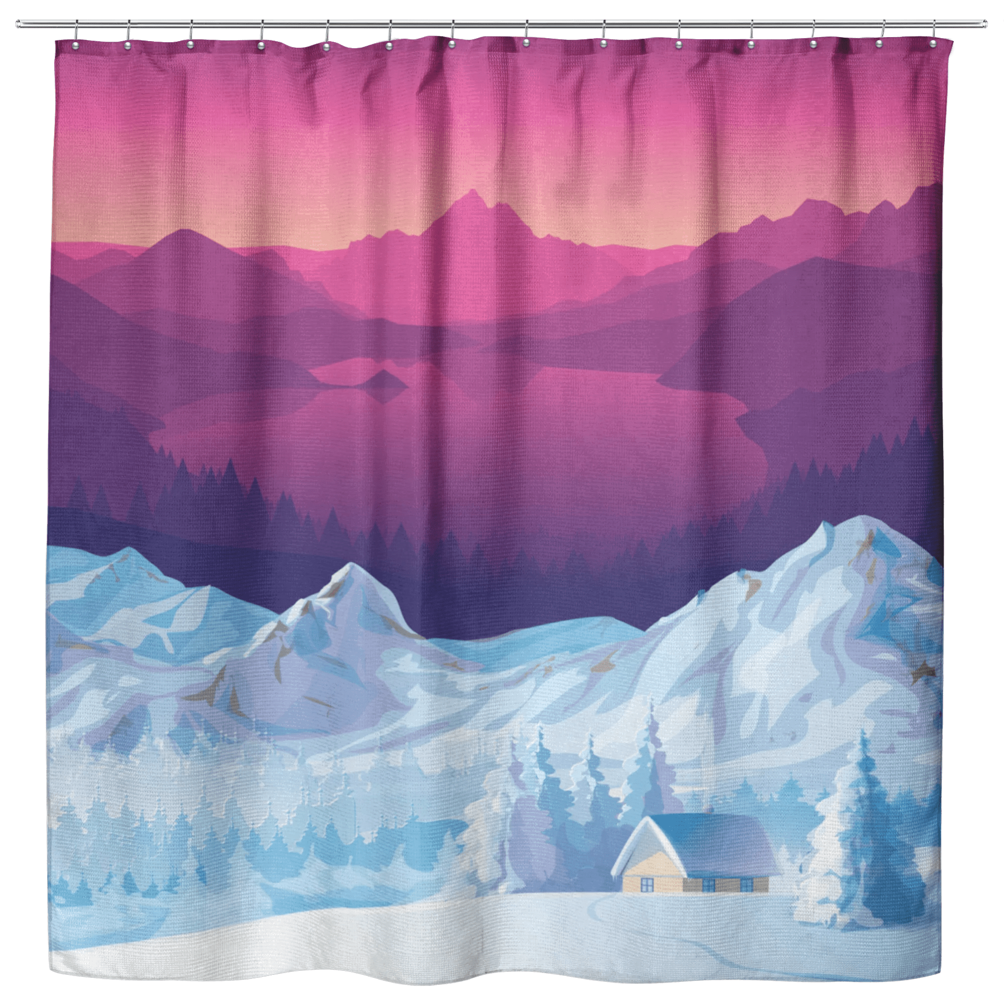 sunset at snow mountains shower curtains