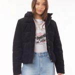 All About Eve Clothing CALI CORD PUFFER - BLACK