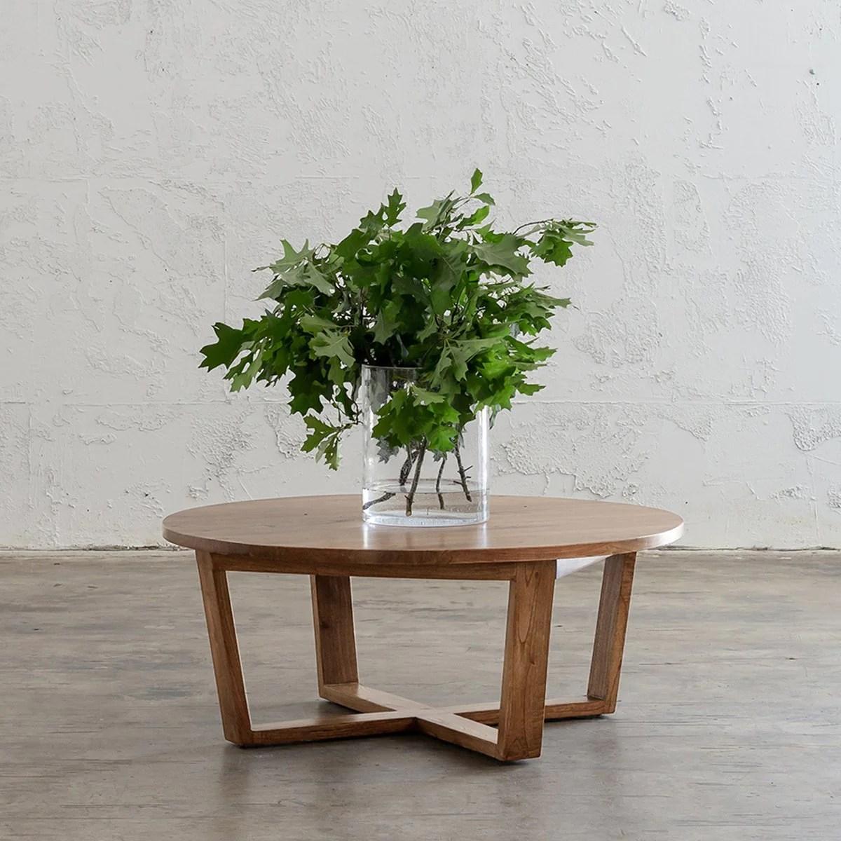 amara mid century timber coffee table plain top round