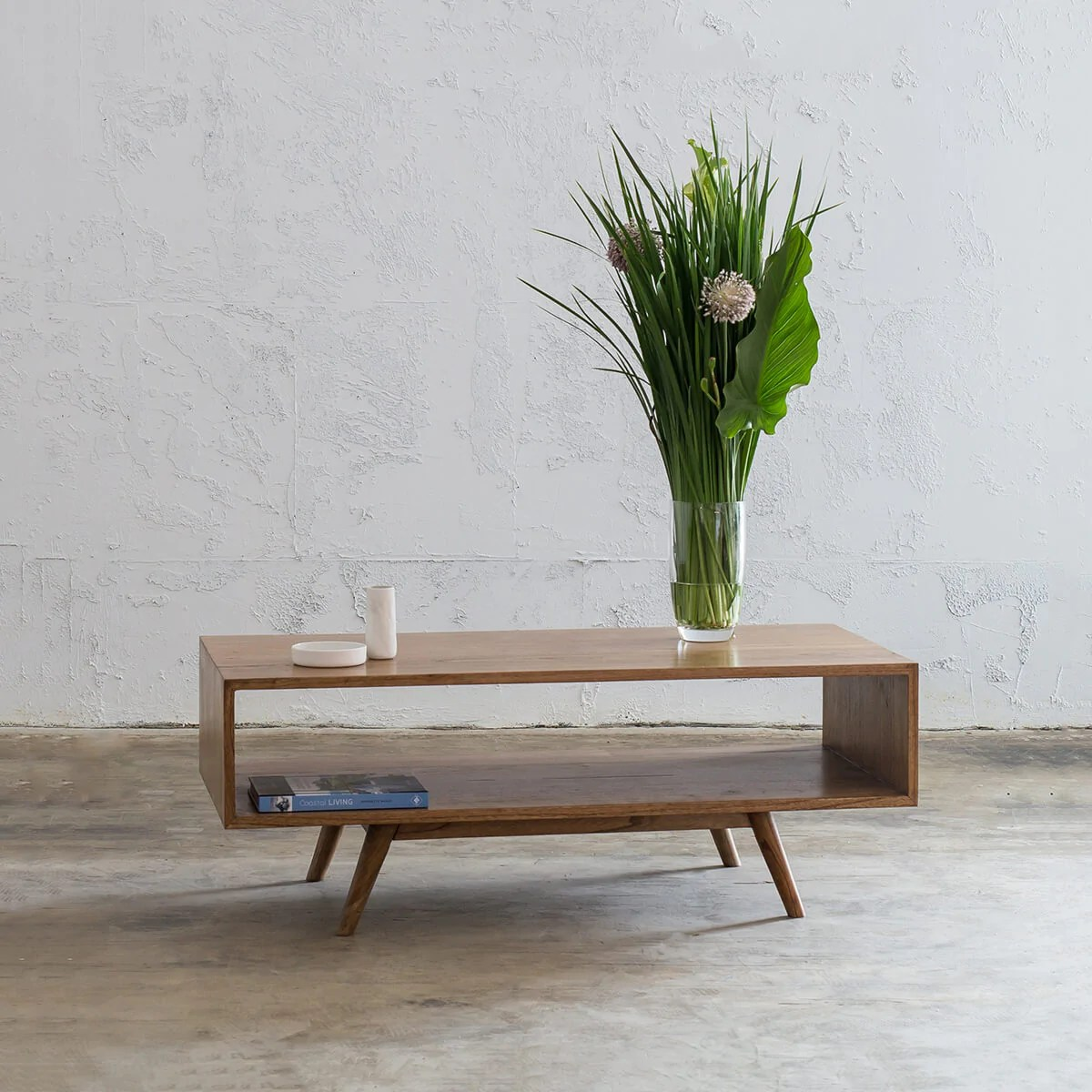 amara mid century timber coffee table rectangle with open shelf