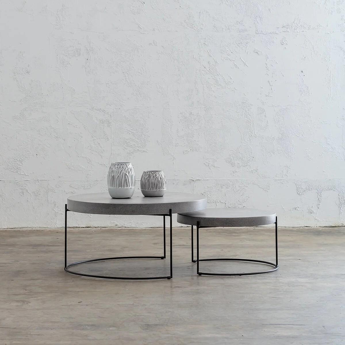aria concrete granite coffee table bundle 2 x coffee tables round zinc ash