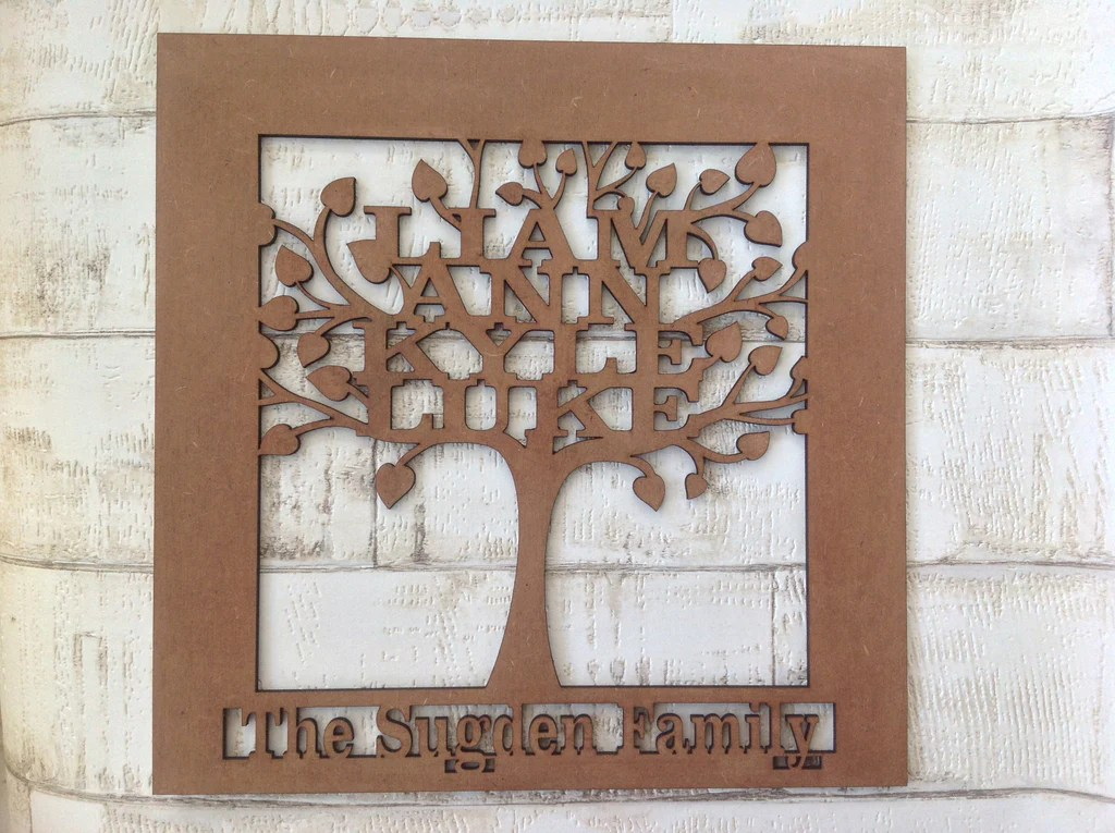 Family Tree Wooden Personalised Laser Cut Plaque Fred