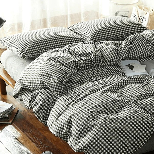 Quilt Cover Set Gingham Black White 4pce Bonus Bed Sheet