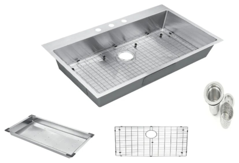 top mount drop in 304 stainless steel single bowl kitchen sink 36