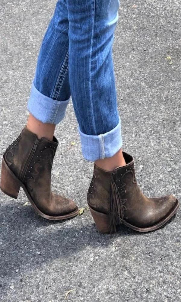 booties cowgirl boots fringe booties