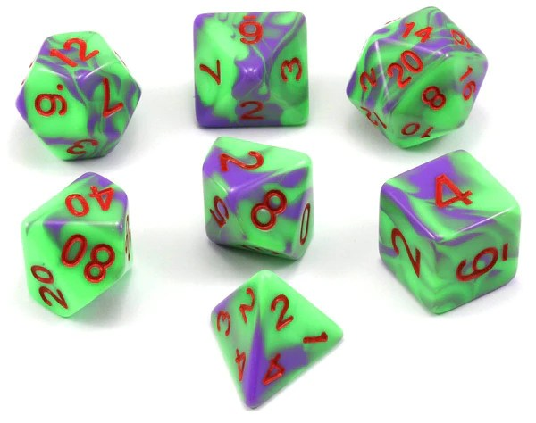 Blended Dice  Poison  RPG Role Playing Game Dice Set     Dark Elf Dice Poison d d dice  D D Dice Poison Green Puple