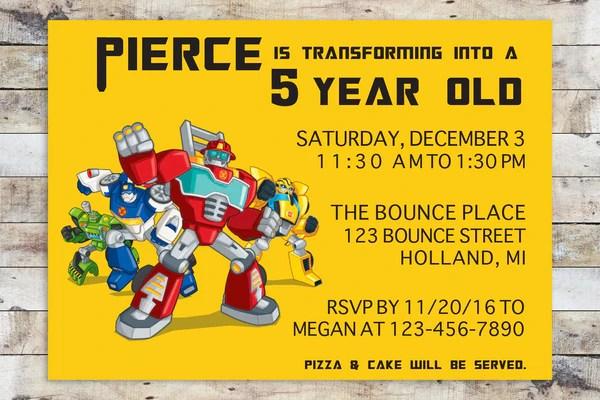 transformers rescue bots birthday party invitations personalised invites x 10 home furniture diy boitaloc wedding supplies