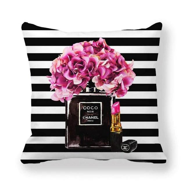 fashion chanel no 5 home decor throw pillows