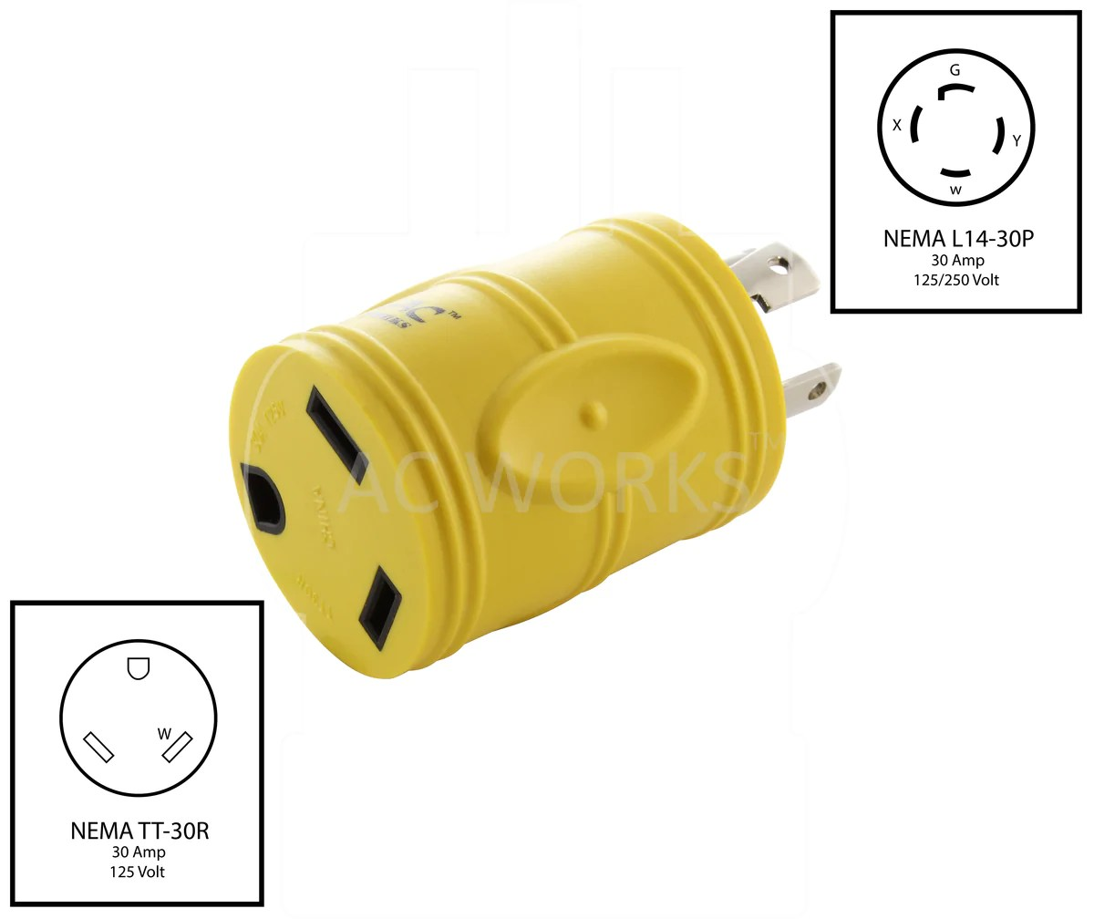 Rv Generator Adapter L14 30p 30amp Locking Plug To Rv Tt