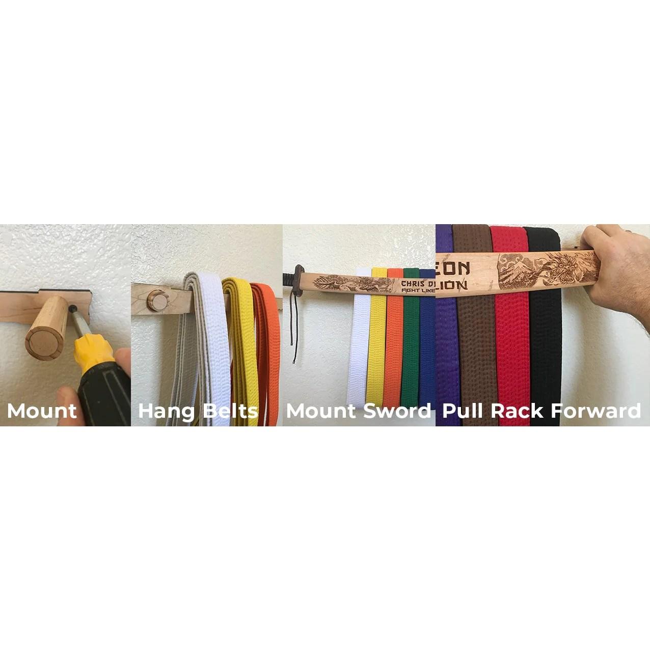 kirin dojo martial arts belt rack customizable wall sign