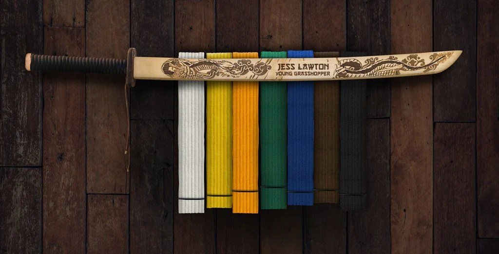 dojo dragon karate belt rack katana wall sign