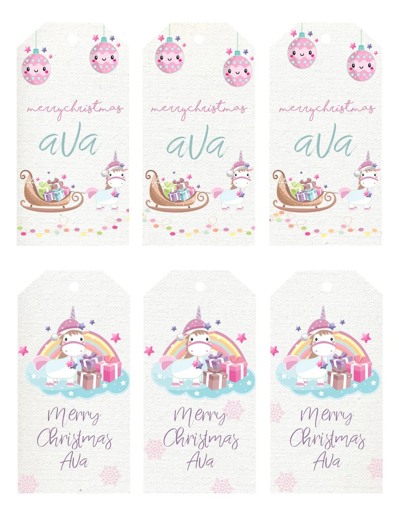 Christmas Gift Tags Unicorn Forever3paperie
