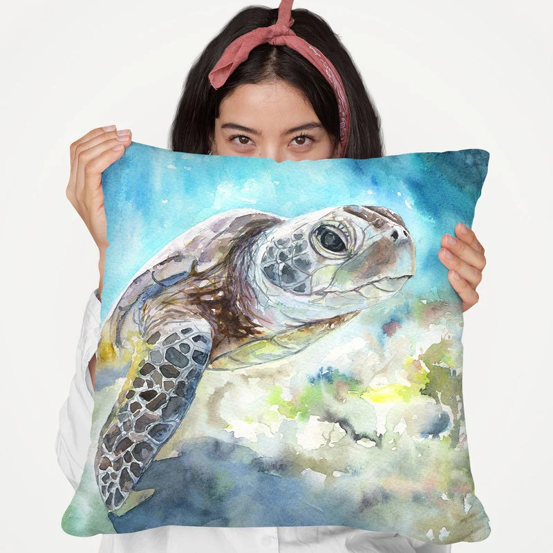 sea turtle throw pillow by george dyachenko all about vibe