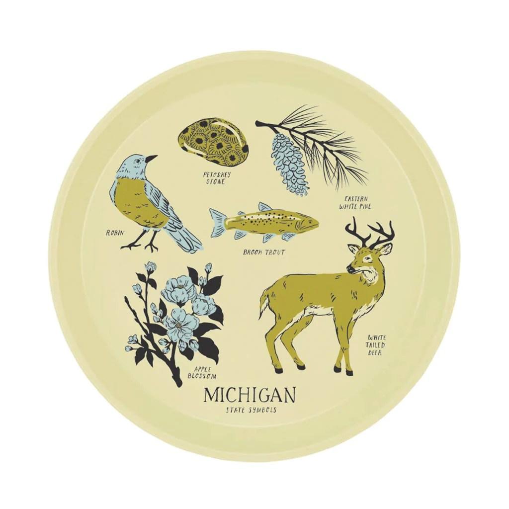 Michigan State Symbols Cocktail Tray City Bird