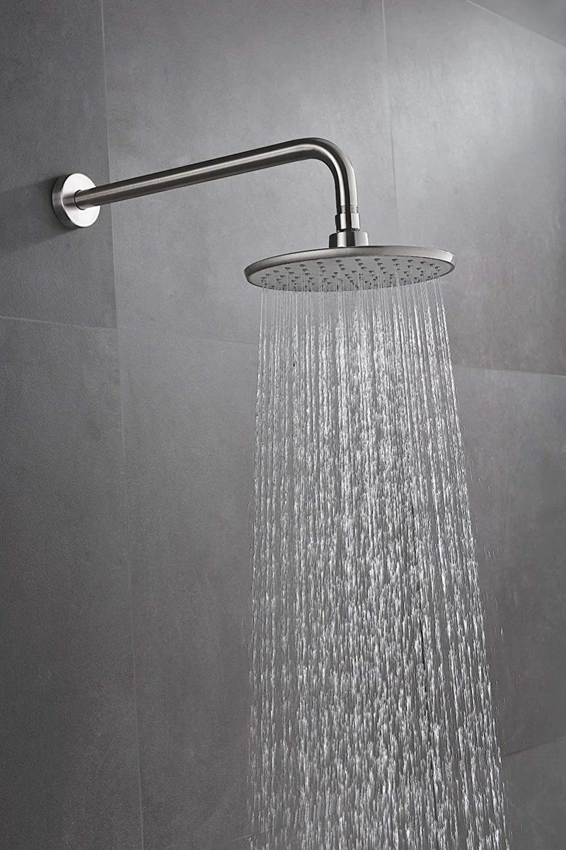 Purelux Rainfall Shower Head With 16 Inch Extra Long Stainless Steel Shower Arm Brushed Nickel Finish 5 Year Warranty