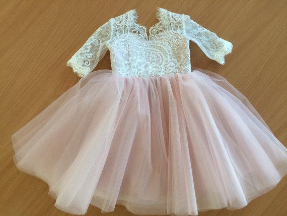 Lace Top Half Sleeves Pink Tulle Flower Girl Dresses, V