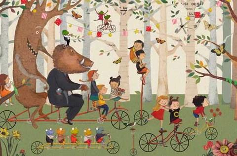 """Ilustraciones de Issa Watanabe para """"Las pequeñas aventuras de Juanito y su bicicleta amarilla""""."""