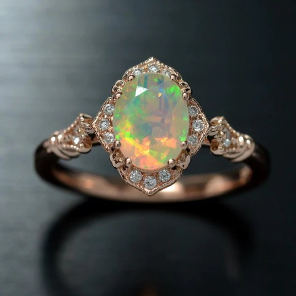 Haydee Fire Opal Halo Engagement Ring Vintage Styled In 14k Rose Gold Oscargama