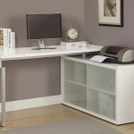 White Corner Computer Desk With Frosted Glass The Office Furniture Depot
