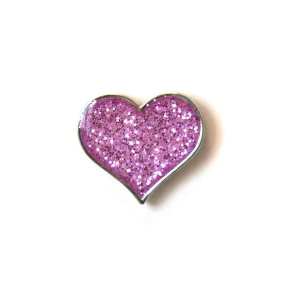 Glitter Heart Pin Breast Cancer Care