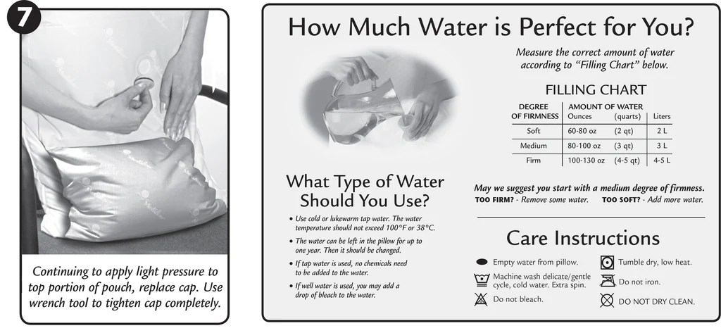 water pillow filling instructions the