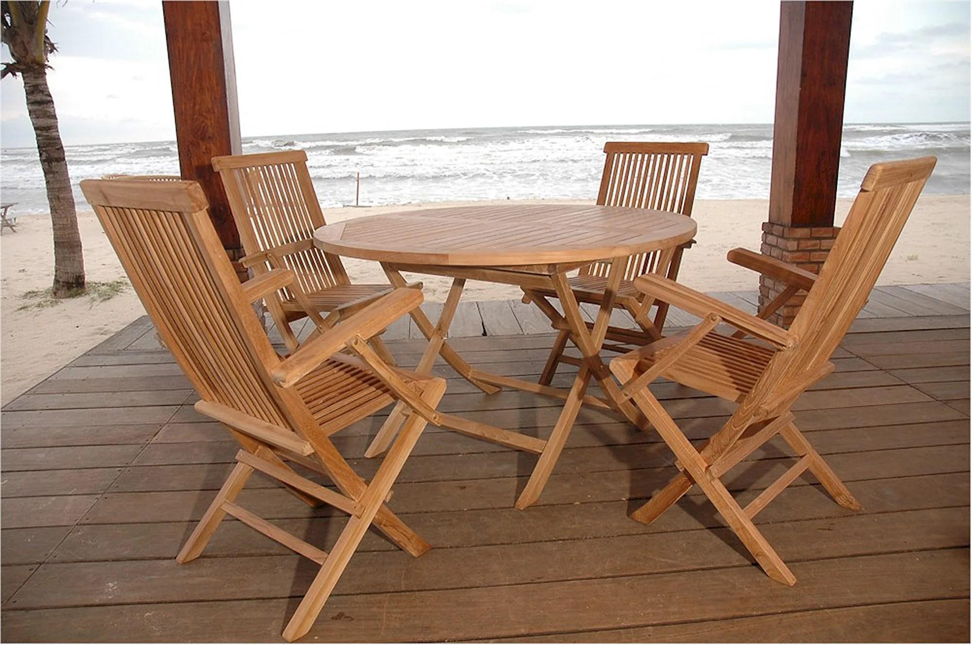 Anderson Round Folding Teak Table Classic Chair Set Bahama Set 28 Teakwood Central