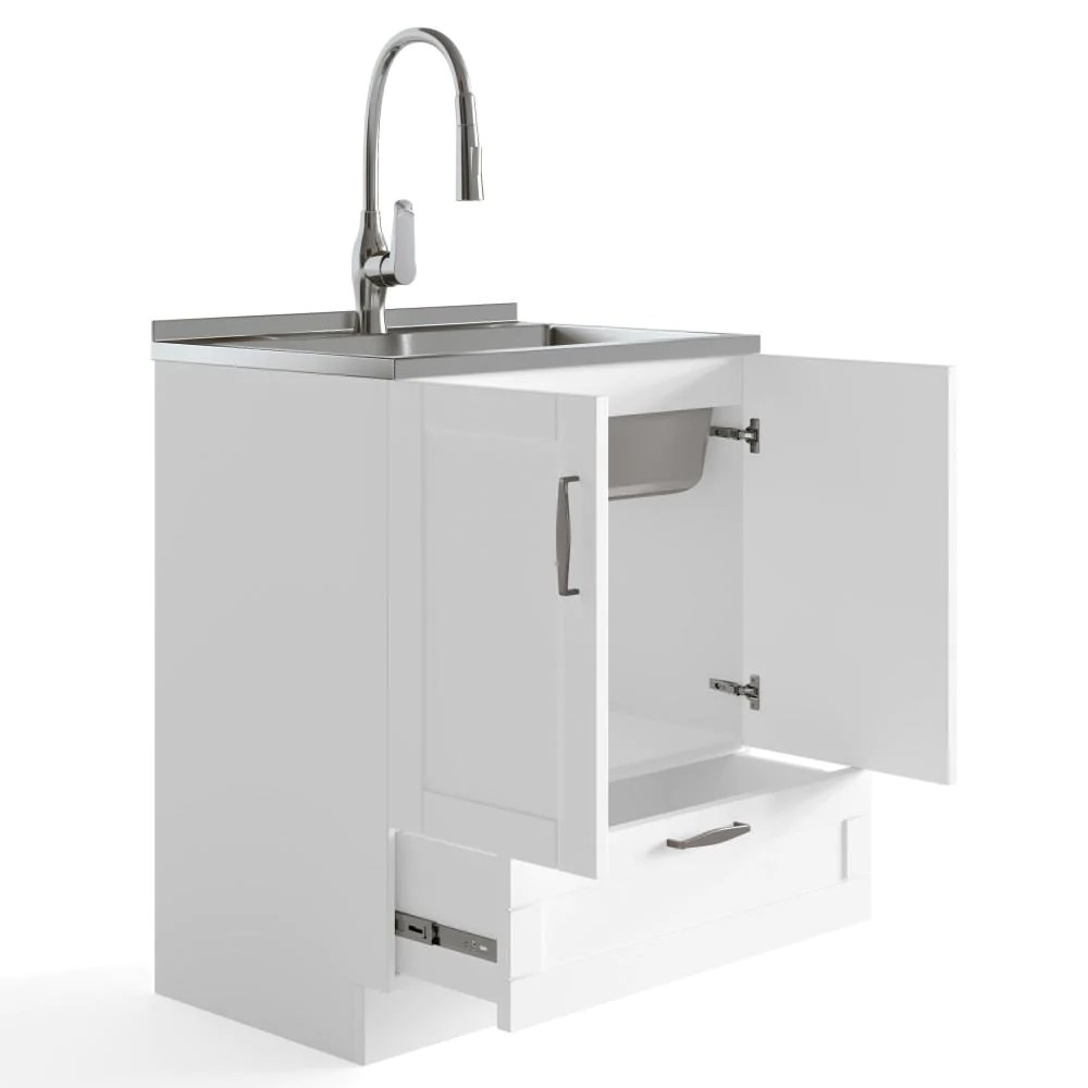 reed 28 inch laundry cabinet with pull out faucet and stainless steel sink