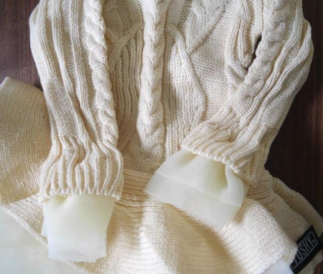 Girls Knit Sweater Dress Cream Tulle Lace Tutu Princess Pullover