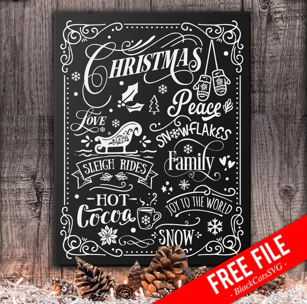 Download Christmas word art poster - FREE SVG cutting file ...