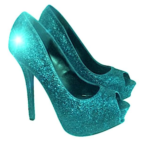 Sparkly Aqua Green Glitter Pumps Heels Wedding Bride Shoes