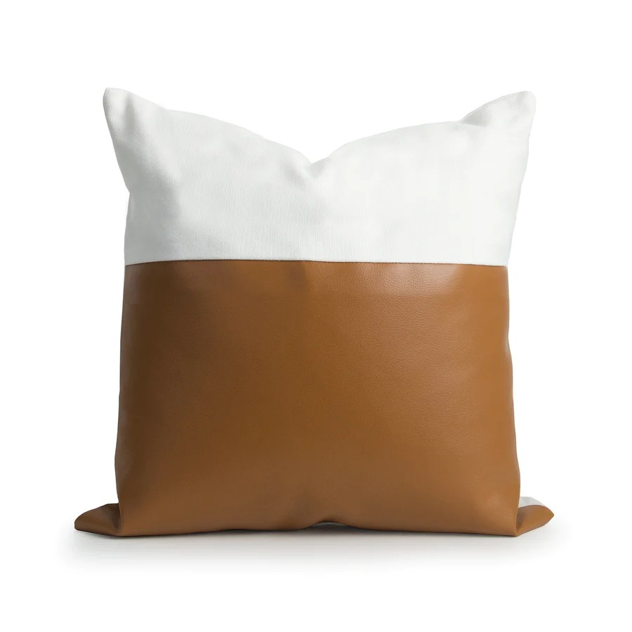 faux leather pillow cover modern design camel white 18 x18