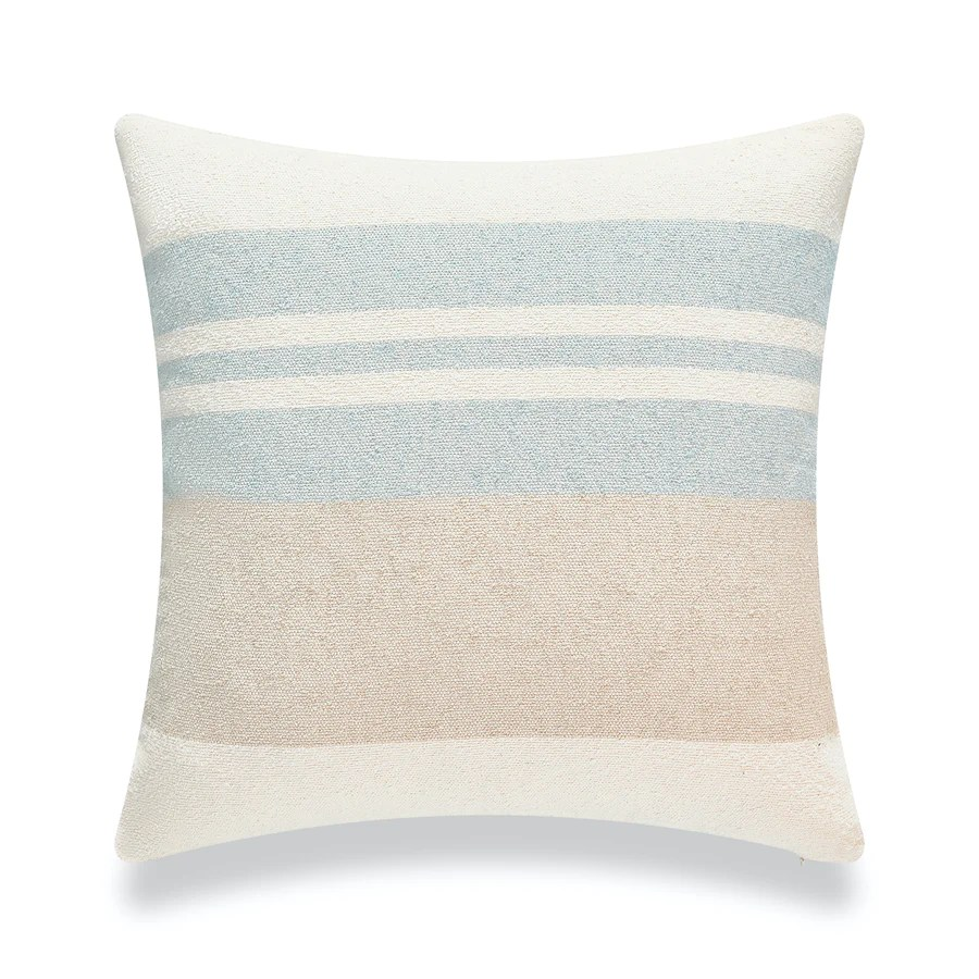 beach coastal throw pillow cover blue taupe color block 18 x18 hofdeco