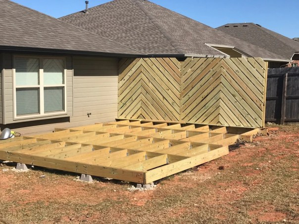 Backyard Floating Deck 16 1024x1024 - DIY Floating Deck Phase 2: Chevron Privacy Wall