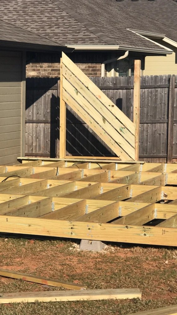 Backyard Floating Deck 19 1024x1024 - DIY Floating Deck Phase 2: Chevron Privacy Wall