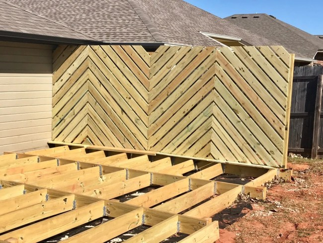Backyard Floating Deck 25 1024x1024 - DIY Floating Deck Phase 2: Chevron Privacy Wall