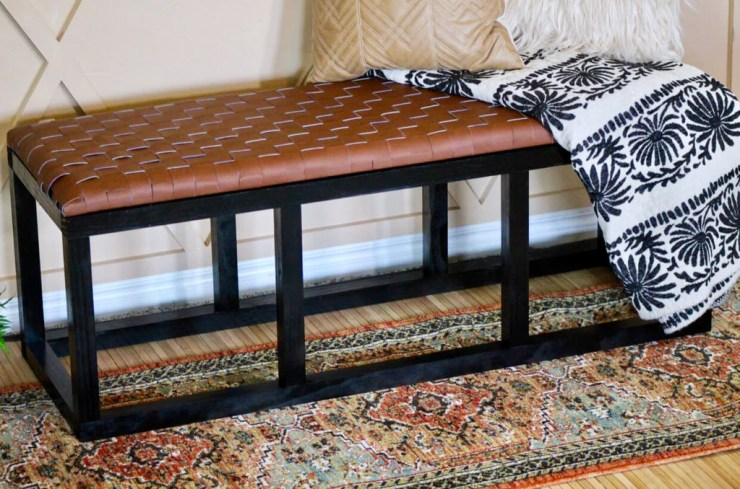 DIY Leather Bench 5 1024x1024 - DIY Leather Woven Bench