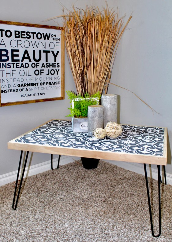 FullSizeRender 67 1024x1024 - DIY Hairpin Coffee Table with Stenciled Tile