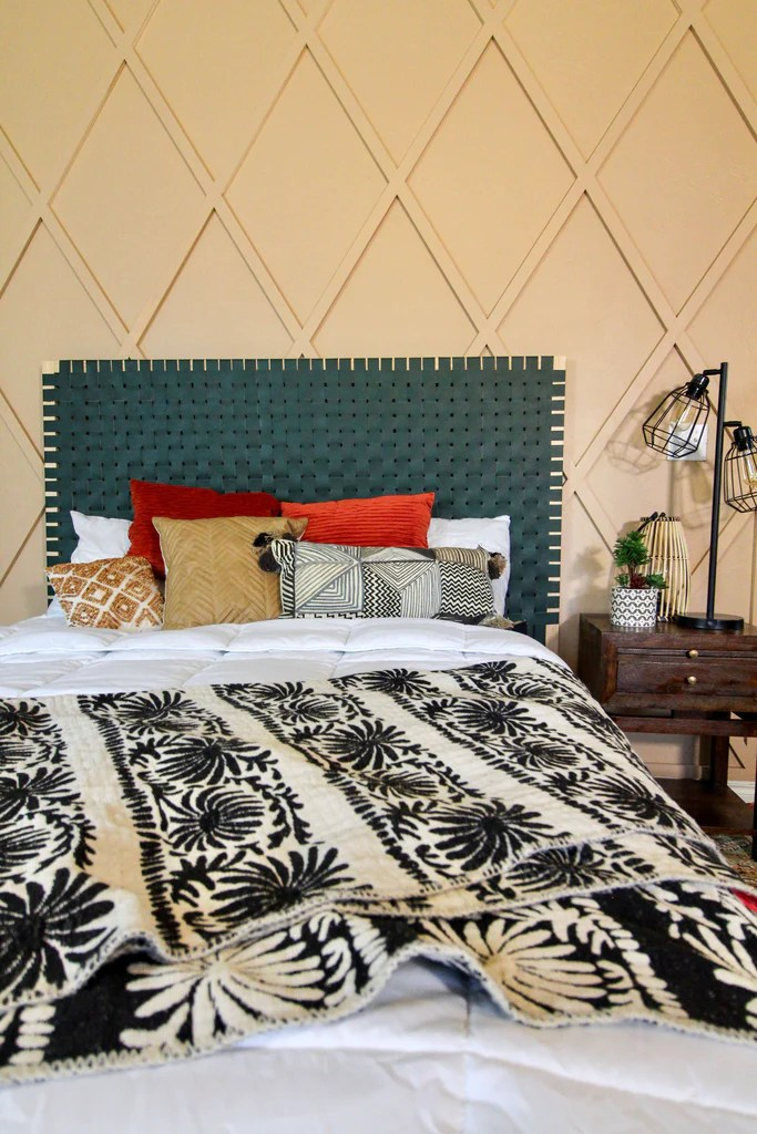 Leather Woven Headboard 2 1024x1024 - DIY Leather Woven Headboard