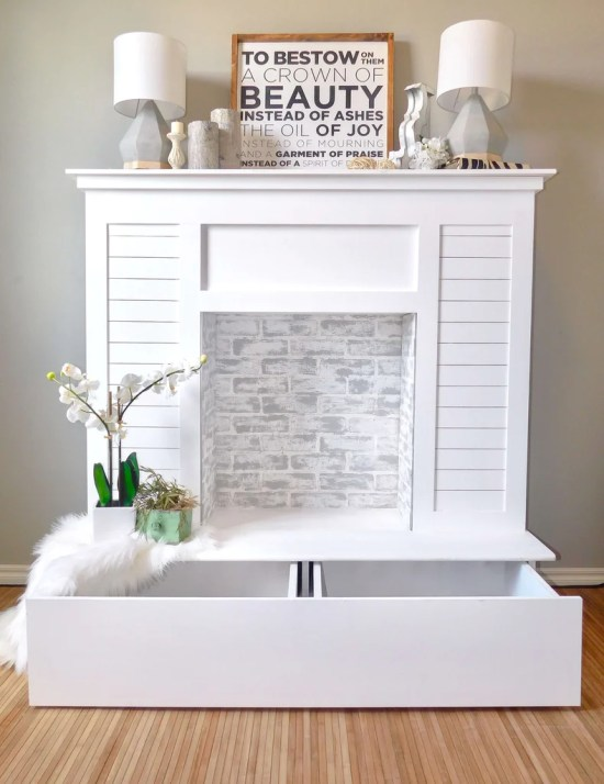 Shiplap Faux Fireplace 5 1024x1024 - Faux Fireplace with Hidden Storage
