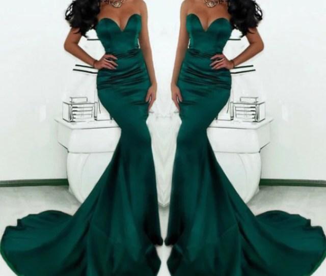Sweetheart Mermaid Emerald Green Formal Long Prom Dress Pd