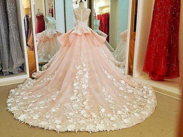 Luxury Ball Gown Flower Wedding Dress Online, Luxury Prom