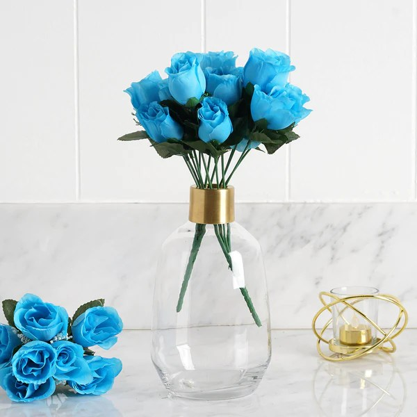 Silk Flowers   Petals   Artificial Flowers Wholesale   eFavormart 12 Bush 84 Pcs Turquoise Artificial Silk Rose Bud Flowers Wedding Bouquet  Centerpiece Decoration