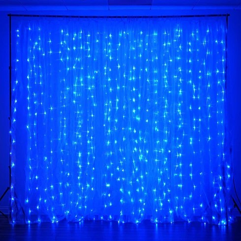 18ft x 9ft 600 sequential blue led lights big photography organza curtain backdrop