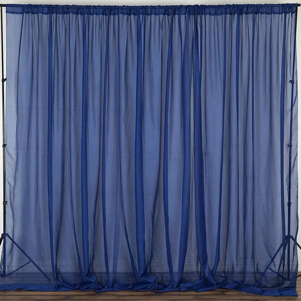 2 Pack 5FTx10FT Navy Fire Retardant Sheer Organza Premium Curtain Panel Backdrops With Rod