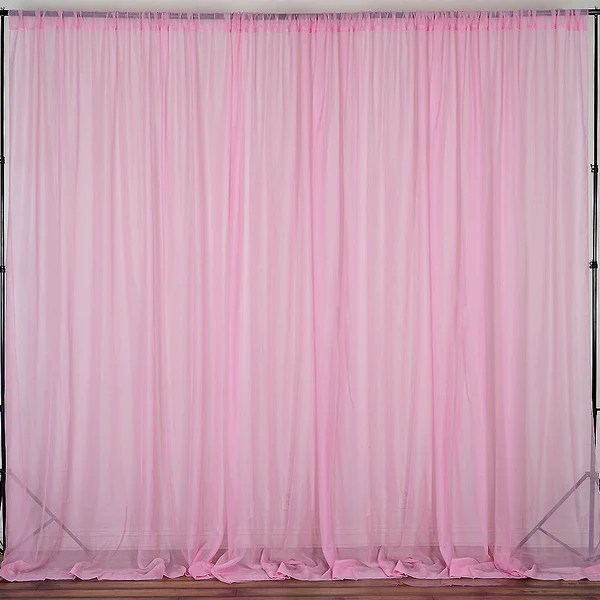 Ivory Fire Retardant Sheer Organza Premium Curtain With Rod Pockets Pink 5FTx10FT Set Of 2