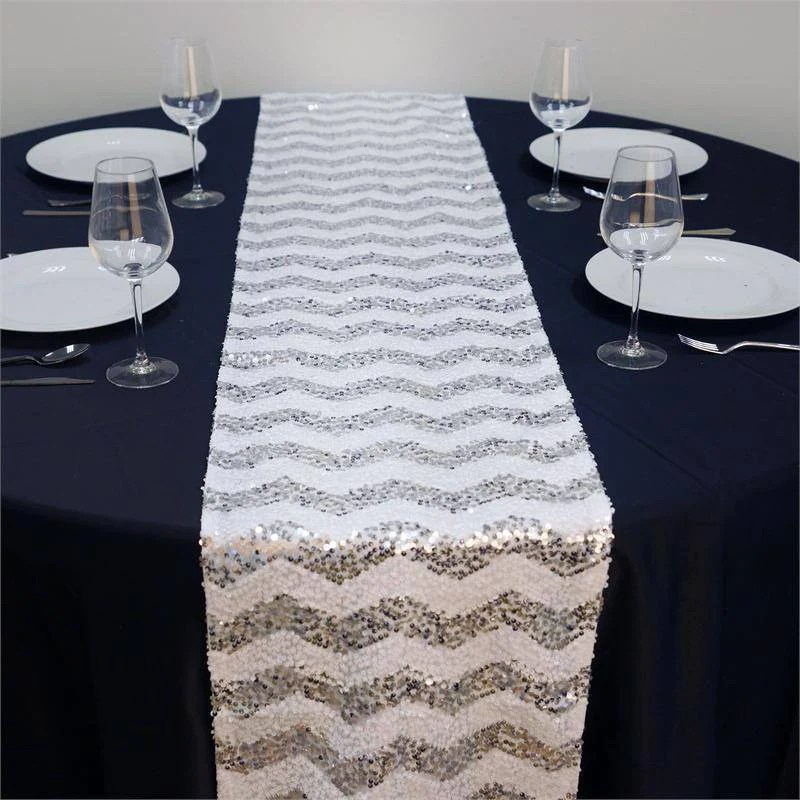 ALLURING Sequin Chevron Table Runners Silver White