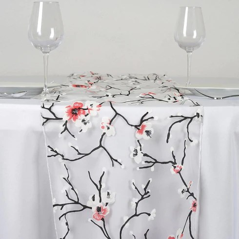 Sheer Organza With Cherry Blossom Design Table Runner