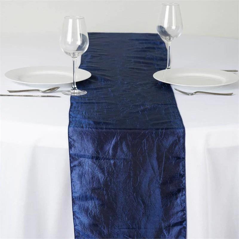 Wholesale Navy Blue Taffeta Crinkle Table Runner For